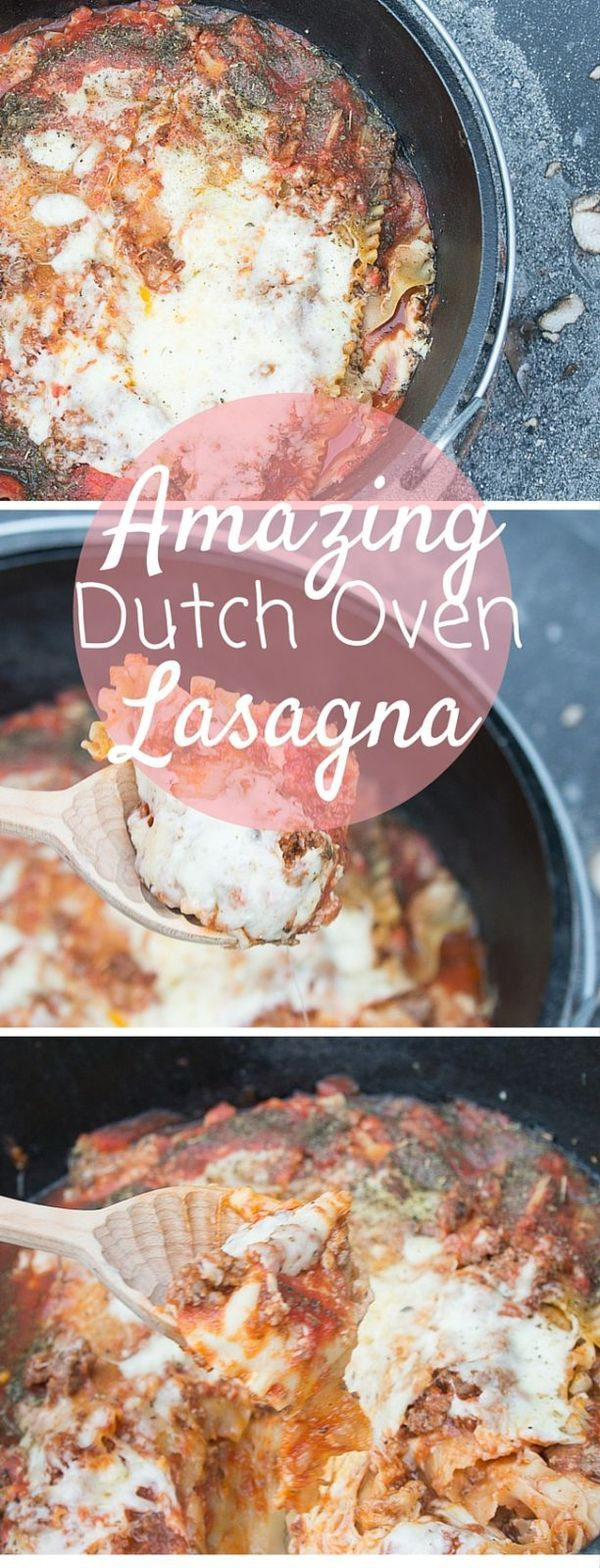 Dutch Oven Lasagna / Dutch Oven Recipes / Easy Dutch Oven Recipe / Outdoor Cooking /