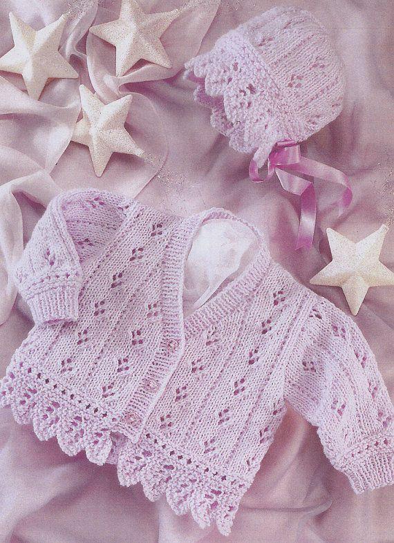 vintage knitting pattern PDF baby cardigan and bonnet por ECBcrafts