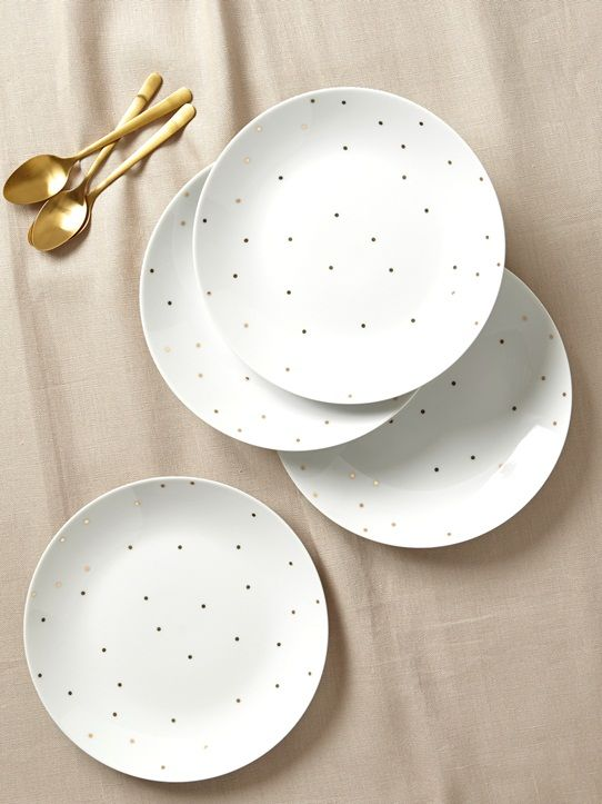 4 petites assiettes chic et tendance pour une déco de table lumineuse. DétailsLot de 4 assiettes à dessert. Diam. 20,5 cm.MatièrePorcelaine peinte