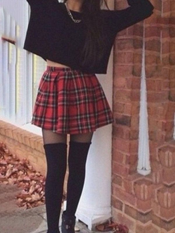 bdefd60cdc Red Plaid Pleated High Waisted A-Line Sweet Cute Going out Party Check  Print Skirt