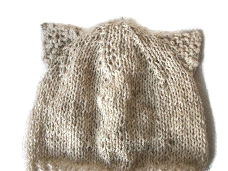 Knit Baby cat hat, Kitten Hat, Baby kitty hat, Alpaca hat Merino Beanie, Animal Hat by thekittensmittensuk on Etsy