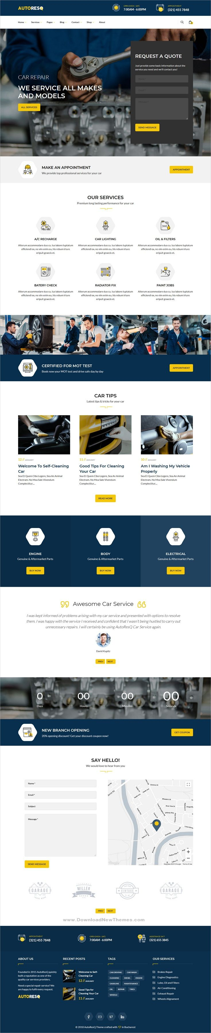 Autoresq Car Repair Wordpress Theme Car Repair Service Auto Service Auto Repair