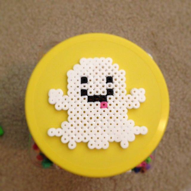 Ghost Halloween perler beads by hollistartist