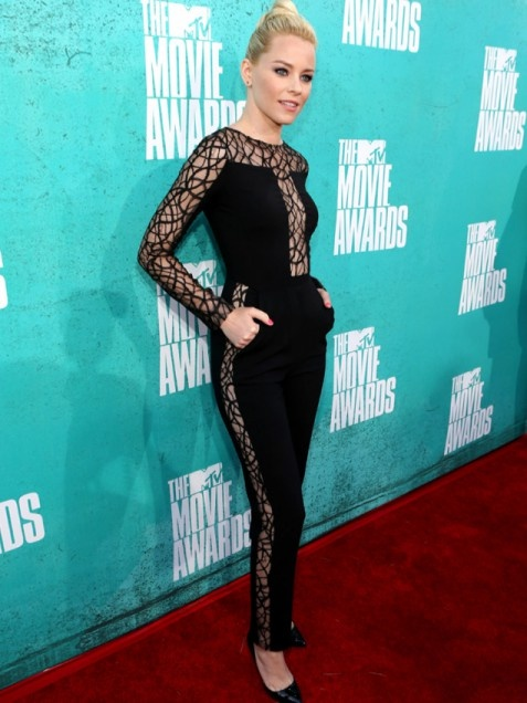 Yikes! Elizabeth Banks looks like she stole Catwoman's jumpsuit and got in a fight with Spiderman.