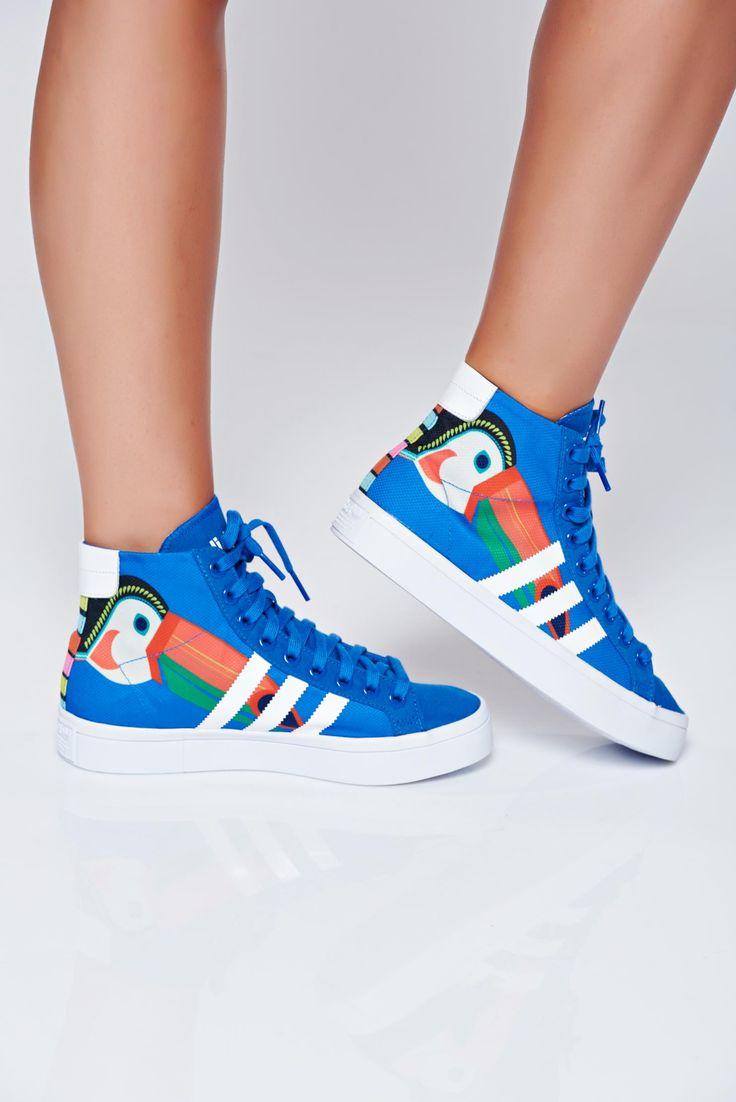 Comanda online, Pantofi sport Adidas originals courtvantage albastru cu siret cu print. Articole masurate, calitate garantata!