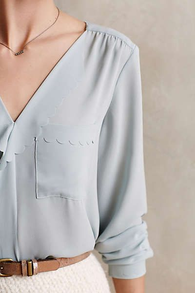 Anthropologie - Scalloped Remi Blouse. Gorgeous blue color. Size 0