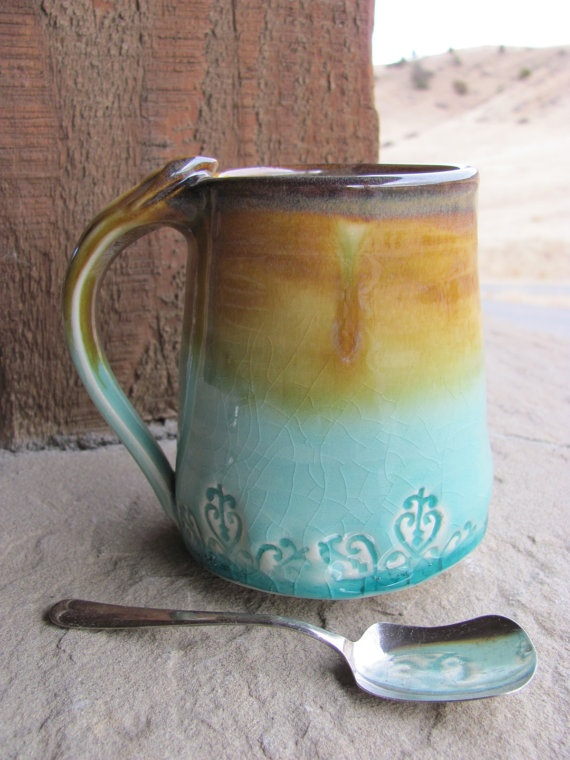 Ceramic Handmade Mug Glazed in Yellowstone by ShadyGrovePottery