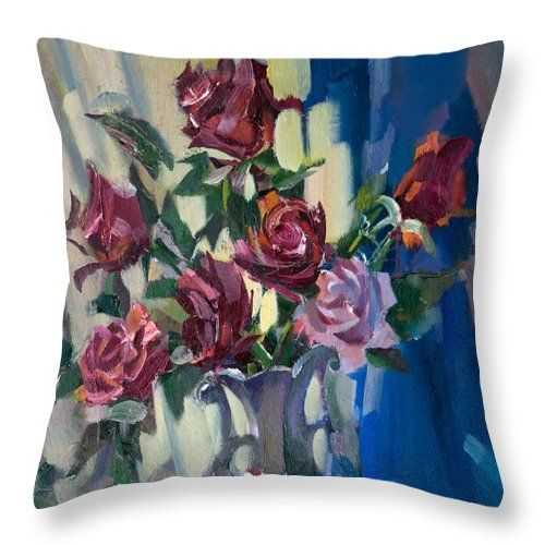 Flowers Throw Pillow featuring the painting Roses On Blue by Nikolay Malafeev