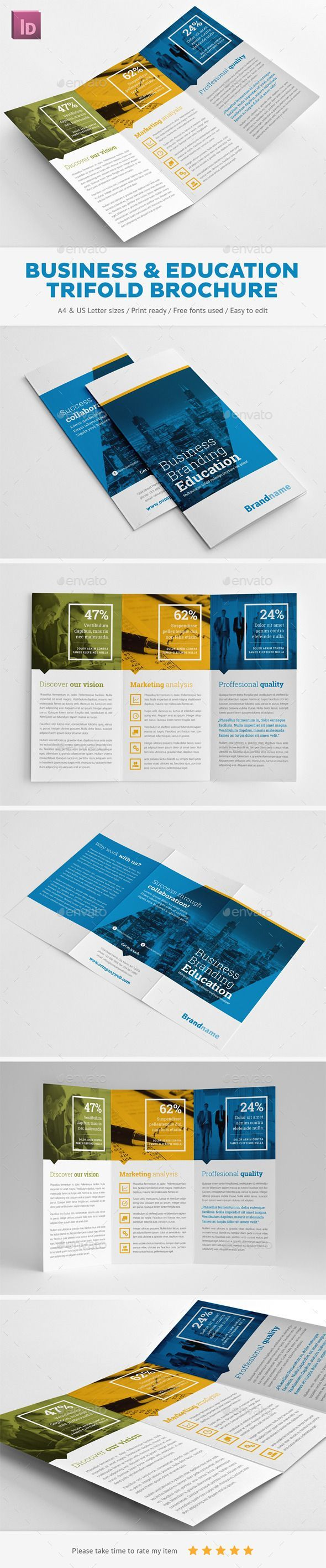 Business Branding & Education Trifold Brochure Template. Download…