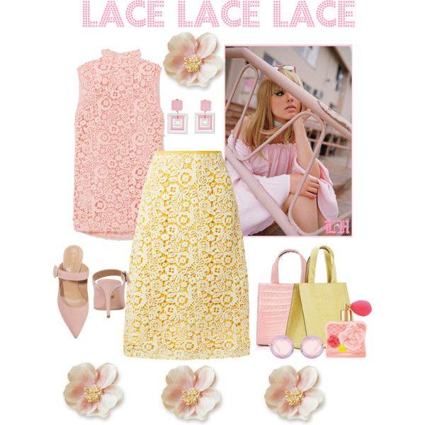 Lace! by lheijl on Polyvore featuring Miu Miu, Aquazzura, Hunting Season and Victoria's Secret