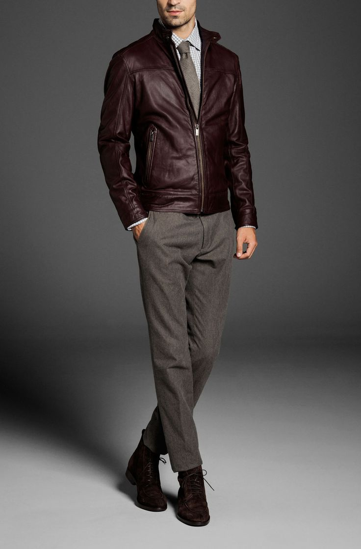MAROON LEATHER JACKET - Leather jackets - MEN - Switzerland