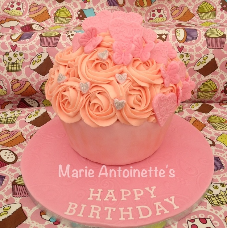 Pink and girly giant cupcake