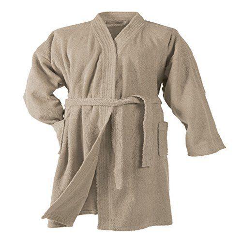 Douceur d'Intérieur 1800520 Vitamine Peignoir Eponge Col Kimono Coton Uni: 100% Coton Couleur : Taupe Accessoires inclus : Vitamine