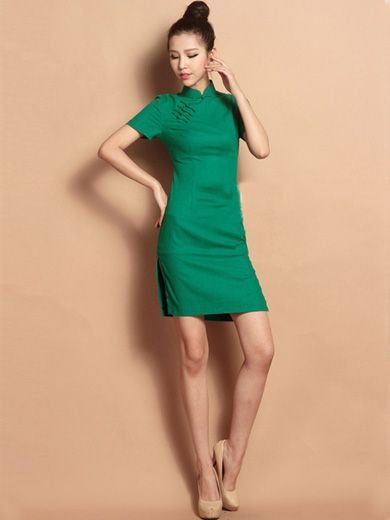 Green Custom Tailored Short Floral Qipao / Cheongsam Dress