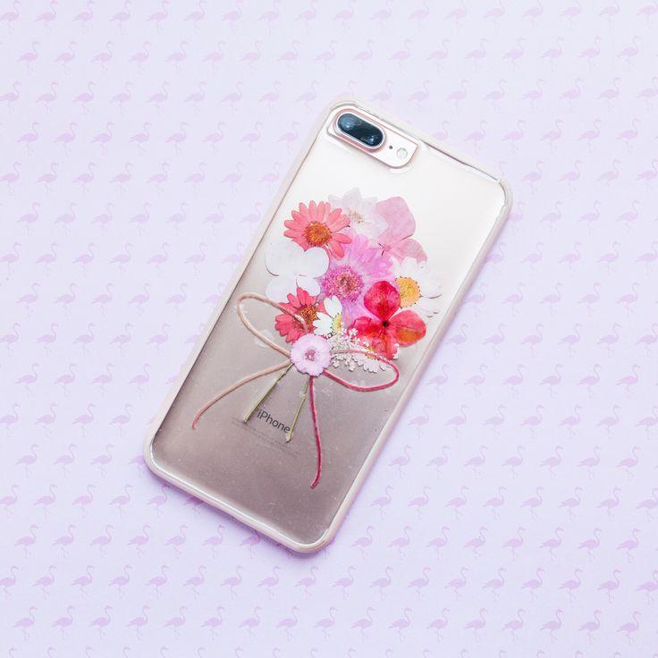 Pink Bouquet | Handmade Pressed Flower iPhone Bumper Case | iPhone 7/8 Plus