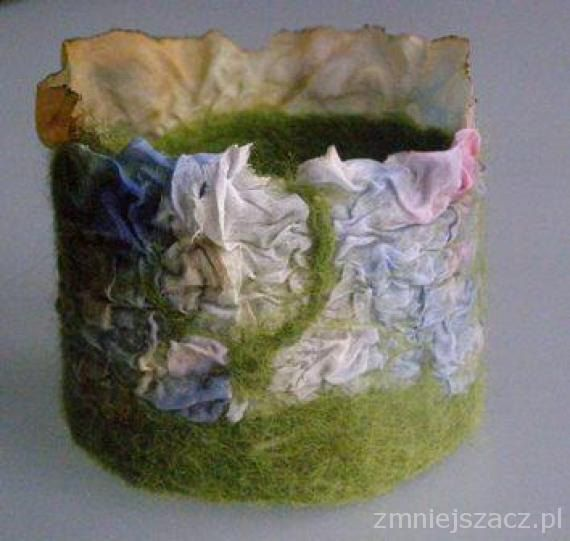 Felt bracelet - handmade felt in combination with silk, arts, handmade, unique, ready to ship by EcoDyeing on Etsy
