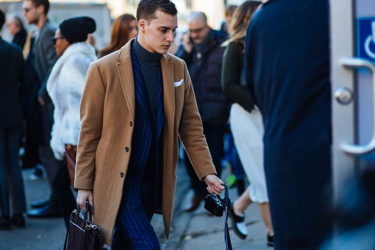 Camel coat, suit & turtleneck sweater. NYFW: Men's AW16 Day 2 — Men's Fashion Post