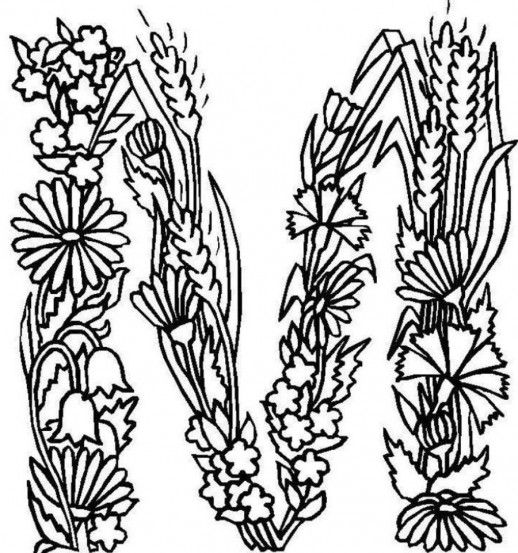 Floral Letters Coloring : Floral alphabet printable coloring page letter b instant