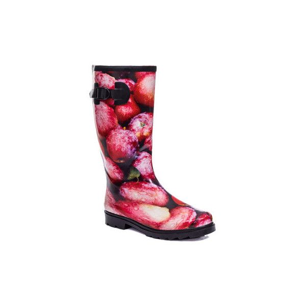 Spylovebuy CHANTILLY Buckle Flat Festival Wellies Rain Boots - Apples... ($29) ❤ liked on Polyvore featuring shoes, boots, red, wellington boots, women, red boots, wellington rubber boots, rubber rain boots, wellies rubber boots and flat boots