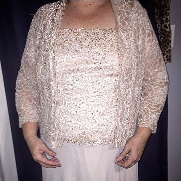 """Chic full length dress with jacket, sz 16W Champagne colored full length dress (52"""" long, back zipper, about 20"""") with lace and sequin beaded top overlay and 3/4 sleeve lace jacket. Top is about 21"""" armpit to armpit. Great used condition. Worn once to a wedding. 60% rayon, 40% nylon. 100% stunning. Karen Miller New York Dresses Maxi"""