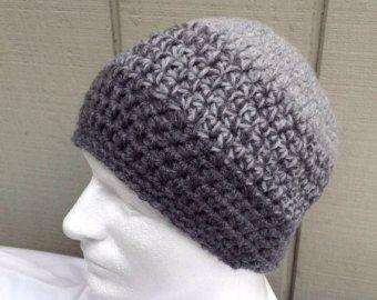 -Sombrero de mezcla de lana para hombre - lana grueso mezcla gorro - sombrero de adolescentes - hombres de ganchillo gorro de ganchillo