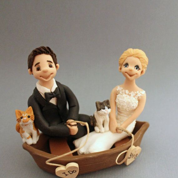 Fishing couple wedding cake topper fully customized to for Fishing cake toppers