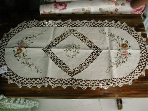 Vintage Corchet/ribbon Embroided Oval Table Runner B By Victoriau0027s Deco,  Http:/
