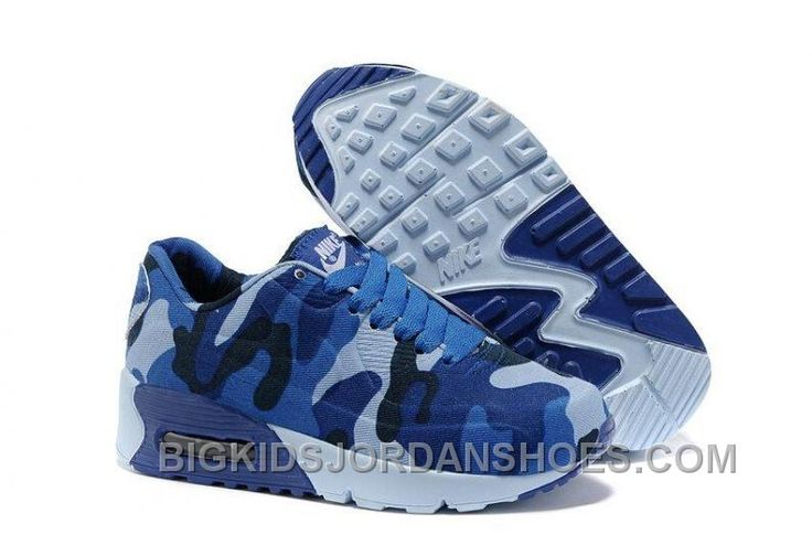 HOT 2015 NIKE AIR MAX 90 HYPERFUSE KIDS RUNNING SHOES CHILDREN SNEAKERS ONLINE SHOP BLUE WHITE CAMOUFLAGE Only