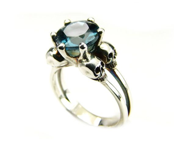 Hey, I found this really awesome Etsy listing at https://www.etsy.com/listing/220332570/silver-skull-ring-sterling-blue-topaz