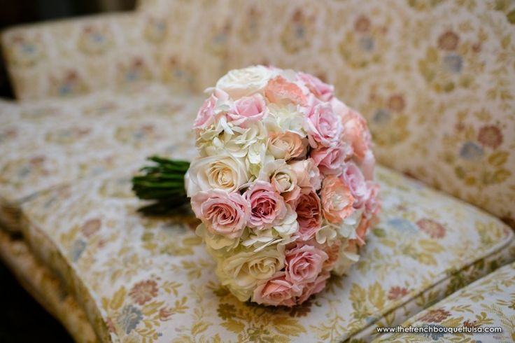 bridal ouquets with virginia roses and hydragenas | Bridal Bouquet with Pink and White Roses, White Hydrangea, and Juliet ...