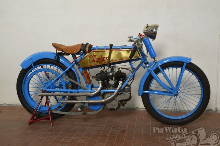 Wanderer 620cc V-Twin 1917 for sale - PreWarCar. Wanderer motorcycles were manufactured in Chemnitz, Germany from 1902 to 1929. The Wanderer Company also built high-quality bicycles and cars, as well as typewriters and mechanical calculators. Wanderer machines were of advanced design, boasting unit construction engines and front and rear suspension as early as 1915. The company used both single cylinder and unit construction v-twin engines of their own manufacture and Wanderer supplied…