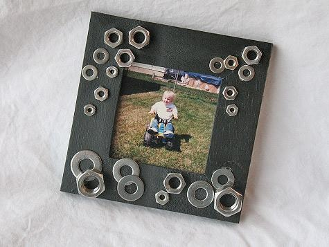 Manly photo frame. Nuts, washers, you know, guy stuff.