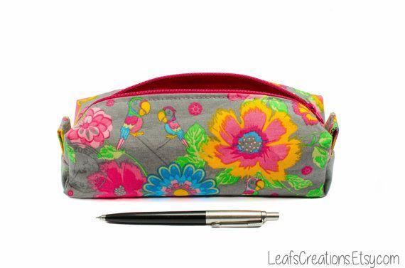 Pencil case Zipper pouch boxy School supplies Flowers LeafsCreations