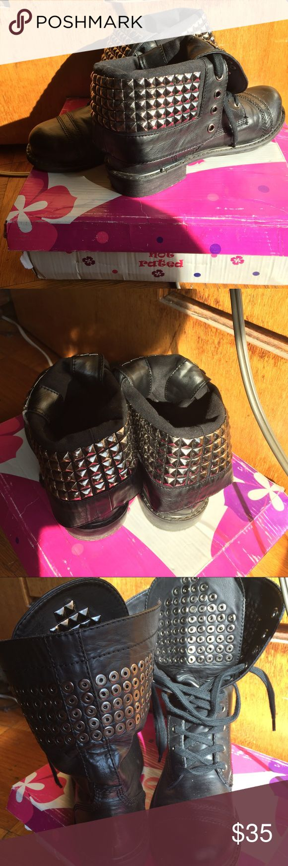 Black studded combat boots Black studded combat boots Not Rated Shoes Combat & Moto Boots