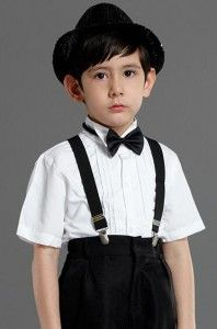 suspender suit short sleeve shirt black bow tie