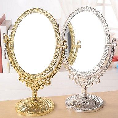 El estilo antiguo europeo de bronce giratoria de escritorio espejo de aumento con la flor de estampado espejo de maquillaje elipse 2016 – $10.99