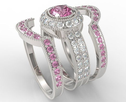 564 best wedding rings images on pinterest wedding ring set light pink sapphire with 340 ct ctw diamond trio wedding ring set in 14k white gold junglespirit Gallery