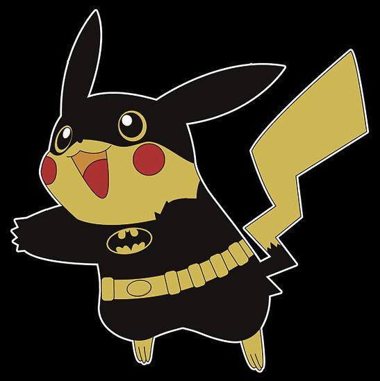 Pikachu dressed as Batman for Halloween!