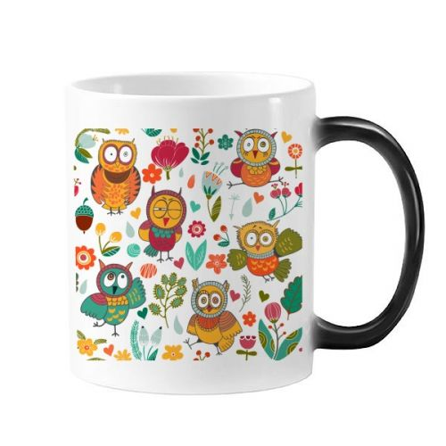 Flowers Plants Owls Hand Painting Drawing Morphing Heat Sensitive Changing Color Mug Cup Gift Milk Coffee With Handles 350 ml #Mug #Flower #Cup #Plant #ChangingColorMug #Owl #Beermug #HandPainting #Coffeemug #Drawing #Coffeecup #Animal #Caneca #leaves #Teacup #Milkcup #CeramicMug #BirthdayGift