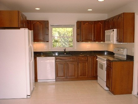 19 best images about kitchen white appliances on pinterest for Cherry kitchen cabinets with white appliances