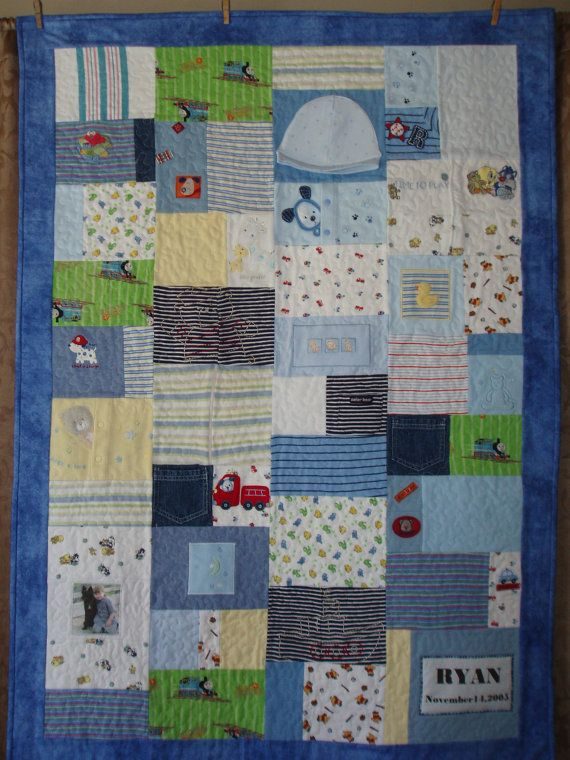 Patchwork quilt made from baby clothes CUSTOM ORDERS   Patchwork quilt made from by BarbMalmTshirtQuilts, $195.00