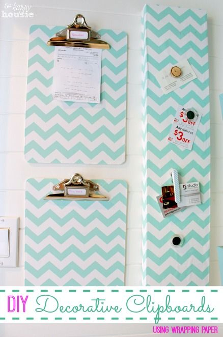 DIY Decorative Clipboards Using Wrapping Paper at The Happy Housie