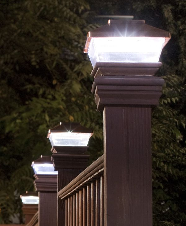 we need deck railing and these post top lights would be perfect for providing that light ambiance we're looking for.