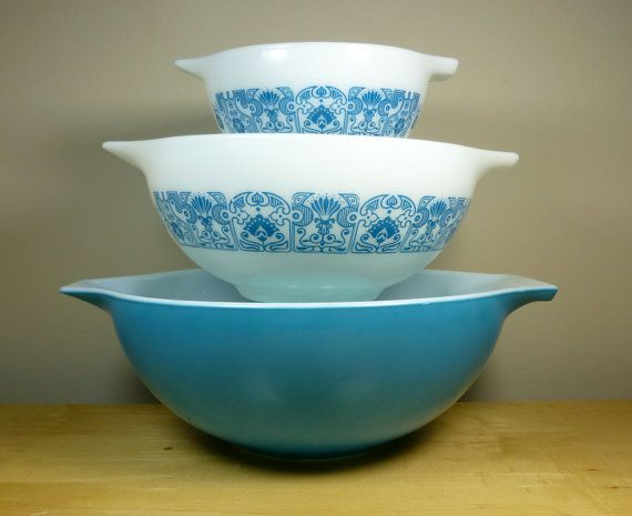 Pyrex Horizon Blue Cinderella Mixing Bowl Set 444 by TheGreenFinch