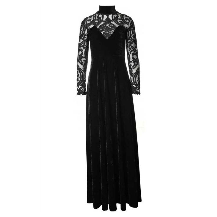 Size S http://www.attitudeholland.nl/haar/kleding/jurken/lange-jurken/secret-society-lange-fluwelen-jurk-met-t/  Secret Society lange fluwelen jurk met transparante mouwen en rug zwart - Gothic 30's Vintage