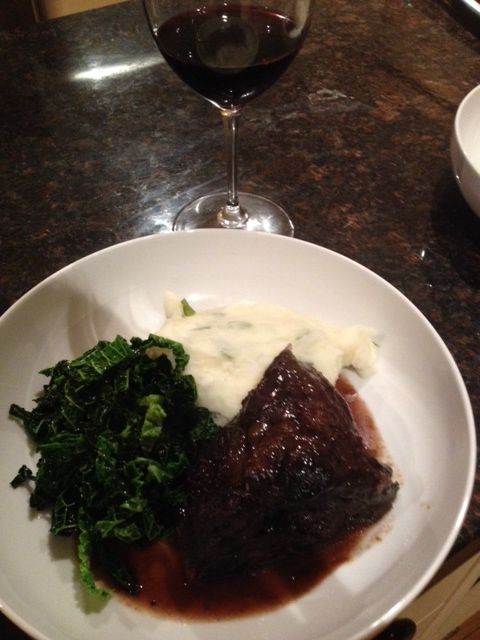 Braised beef cheek with savoy cabbage & creamy mash