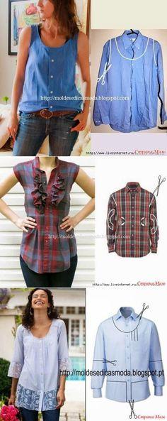 Bilder Ideen zum Upcycling von Hemden, Nähen