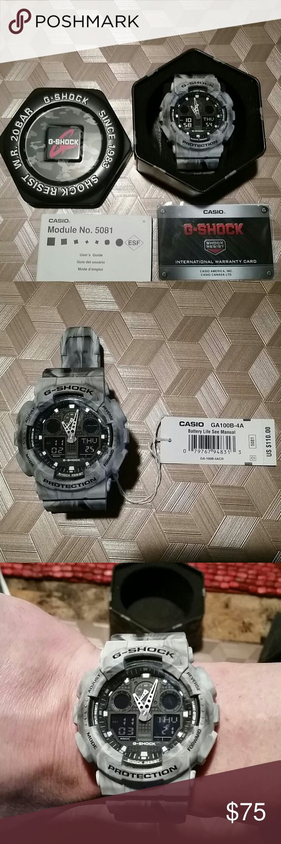Casio G-Shock XL Watch The watch is white and gray, it's a smoked color. It's an XL faced Casio G-Shock watch the face is 52 mm in size. It comes in the original case, it was never worn! G-Shock Accessories Watches