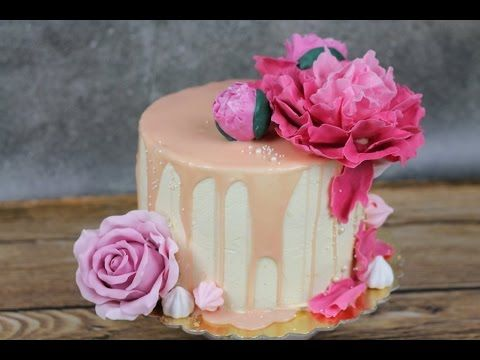 Orchideli - peach birthay cake with fondant rose and fondant peony. Anniversary cake.