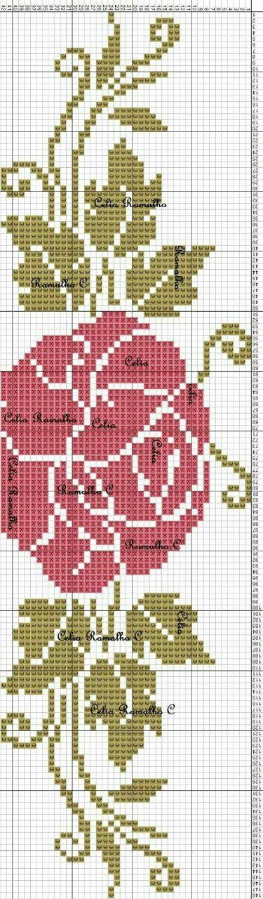 Rosa em ponto cruz